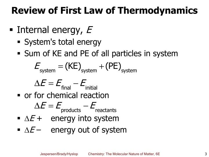 Review of first law of thermodynamics
