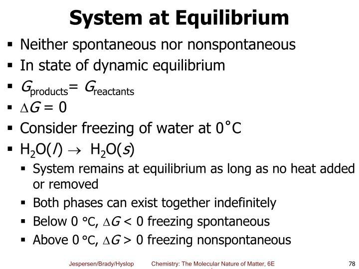 System at Equilibrium