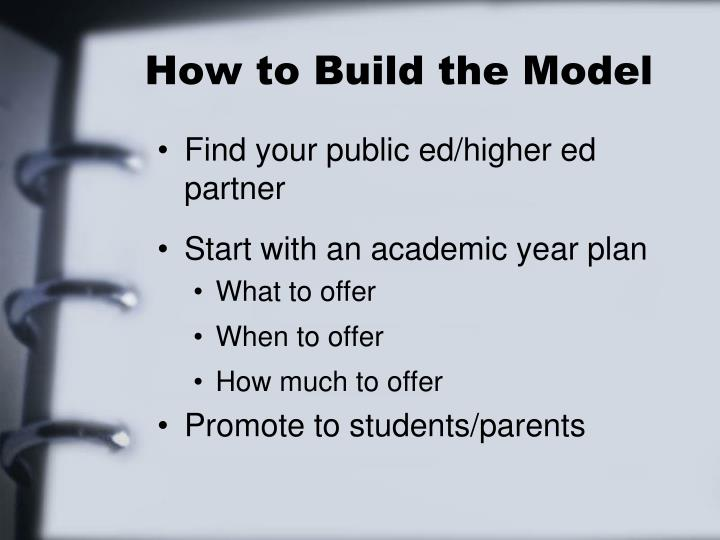 How to Build the Model