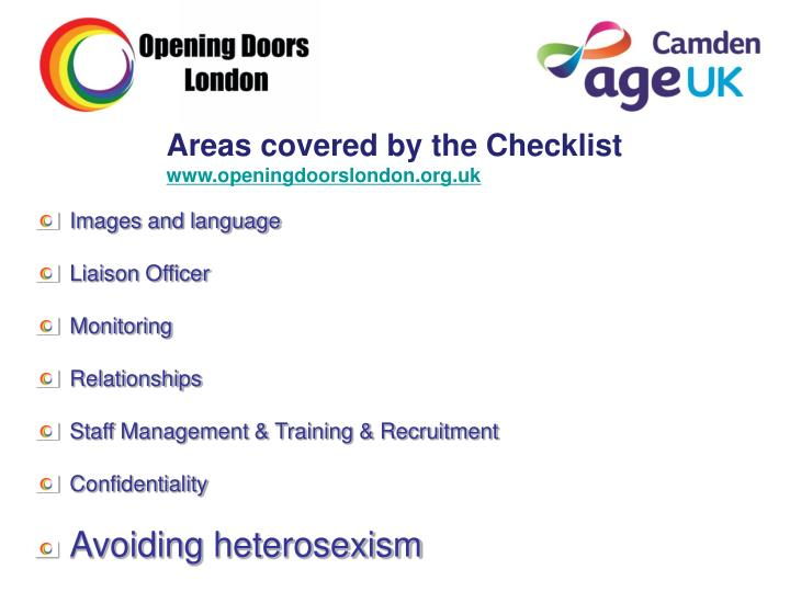Areas covered by the Checklist