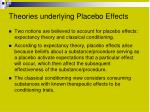 theories underlying placebo effects