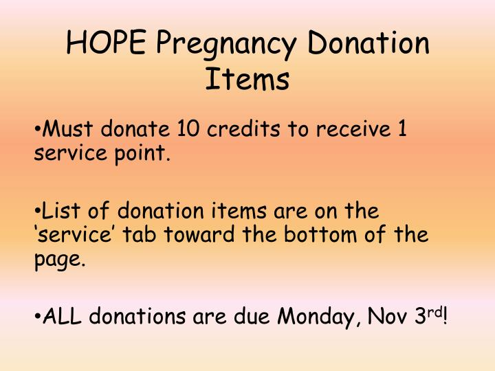 HOPE Pregnancy Donation Items