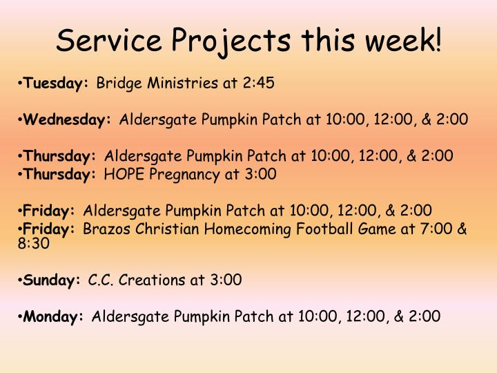 Service Projects this week!