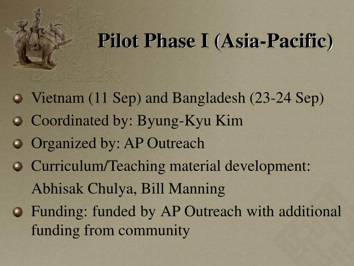 Pilot Phase I (Asia-Pacific)
