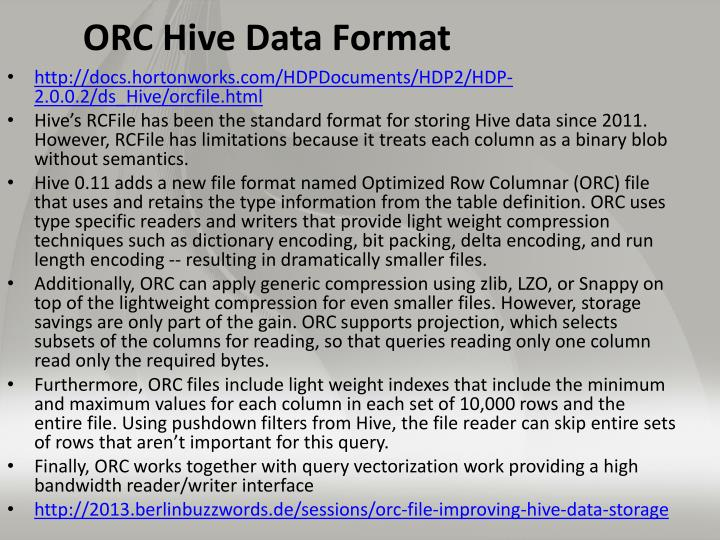 ORC Hive Data Format