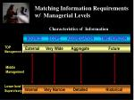 matching information requirements w managerial levels