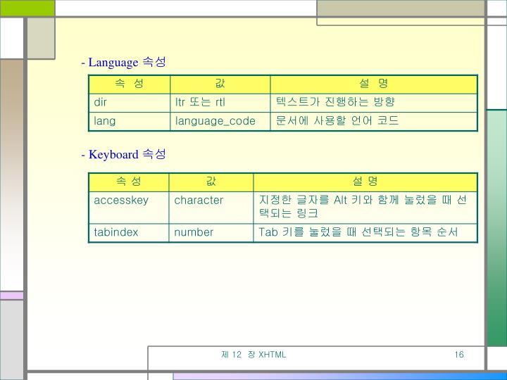 - Language