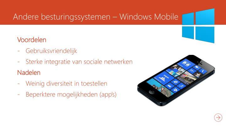 Andere besturingssystemen – Windows Mobile