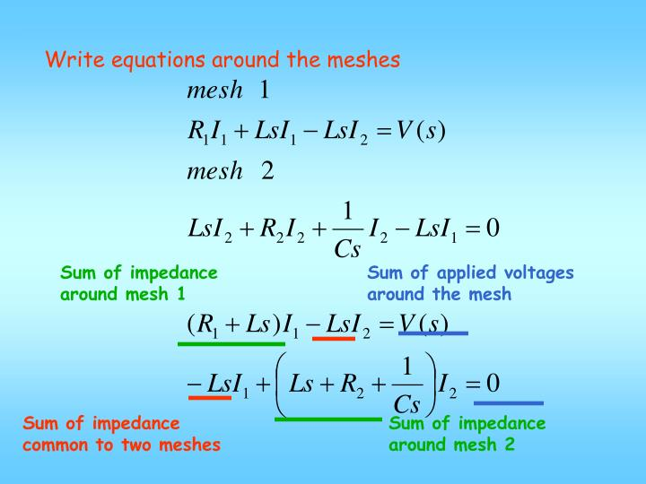 Write equations around the meshes