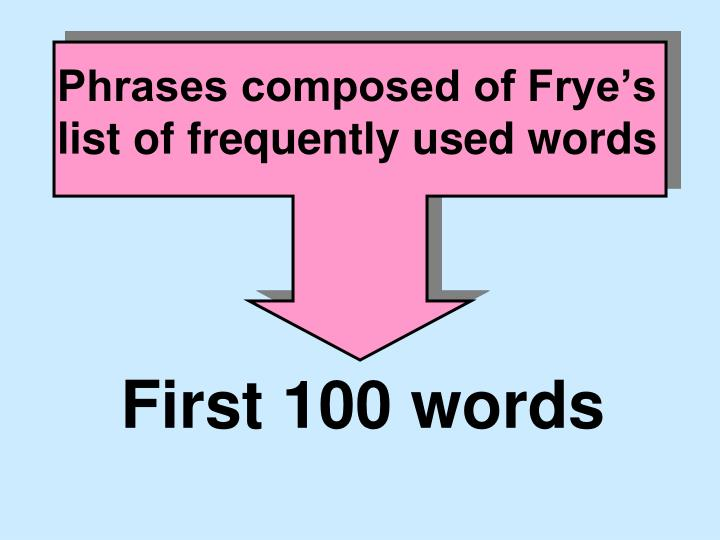 phrases composed of frye s list of frequently used words n.