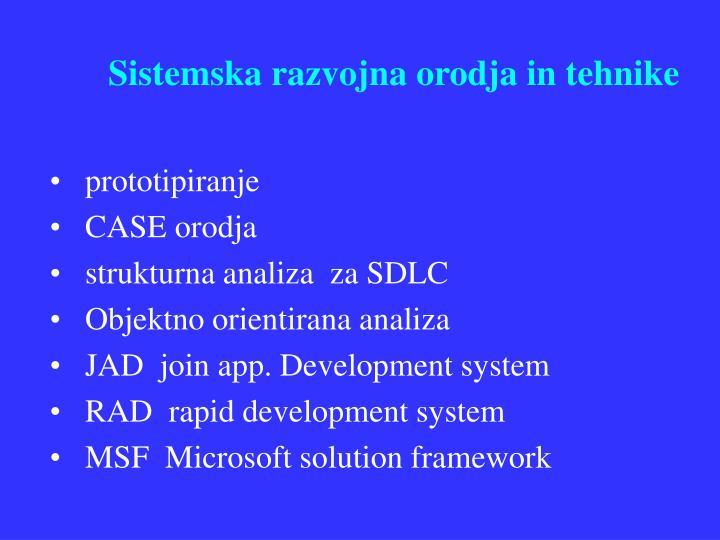 Sistemska razvojna orodja in tehnike