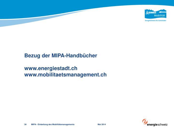 Bezug der MIPA-Handbücher