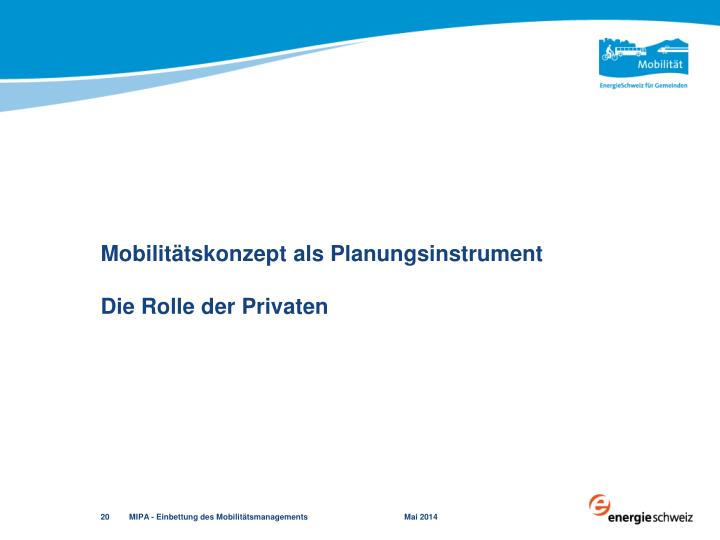 Mobilitätskonzept als Planungsinstrument
