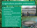 is agriculture possible underwater
