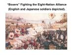 boxers fighting the eight nation alliance english and japanese soldiers depicted