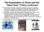 the exploitation of china and the open door policy continued