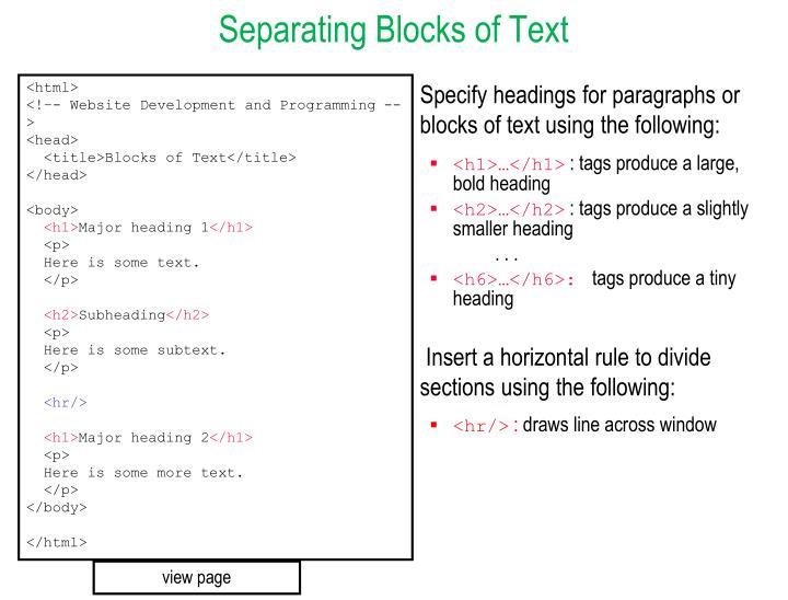 Separating Blocks of Text