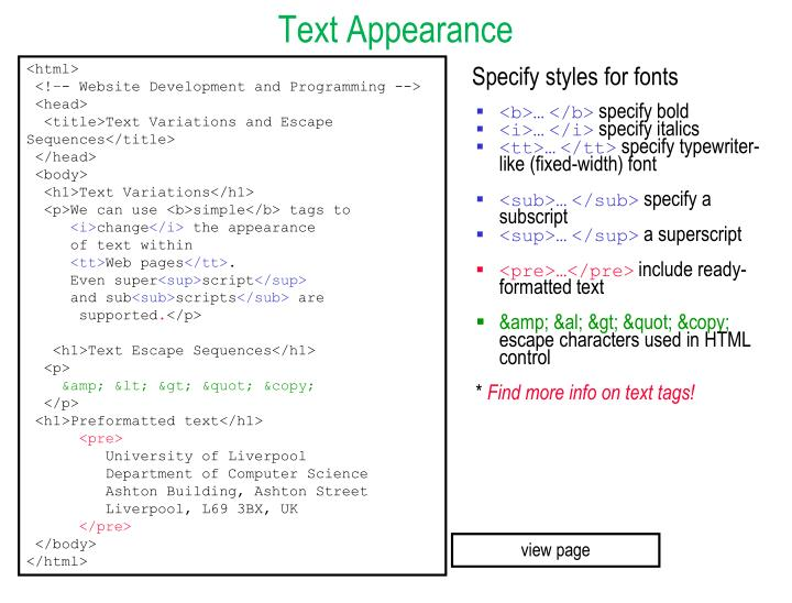 Text Appearance