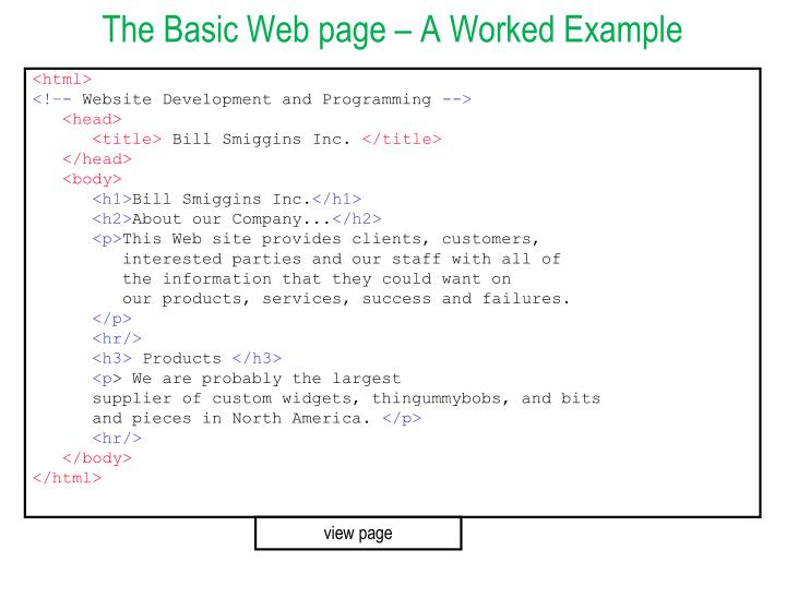 The Basic Web page – A Worked Example