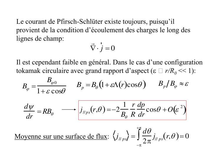 Le courant de Pfirsch-Schlüter existe toujours, puisqu'il provient de la condition d'écoulement des charges le long des lignes de champ: