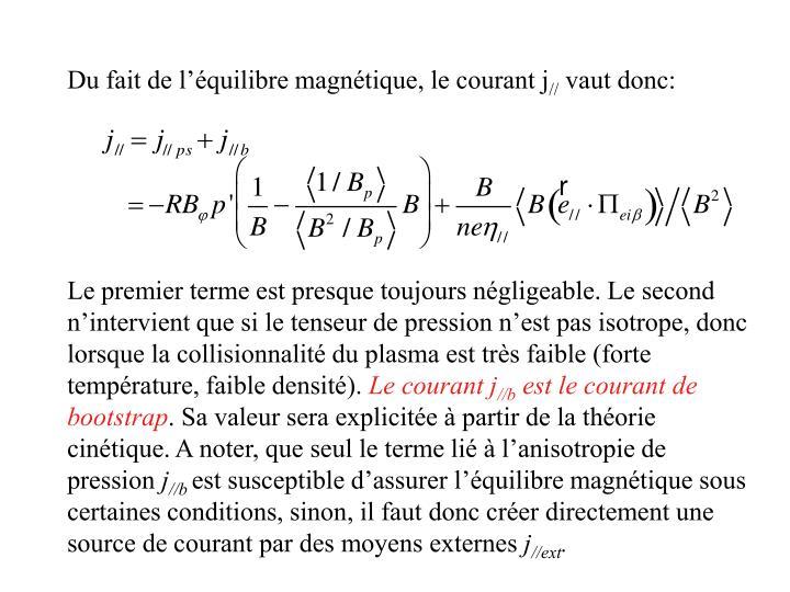 Du fait de l'équilibre magnétique, le courant j