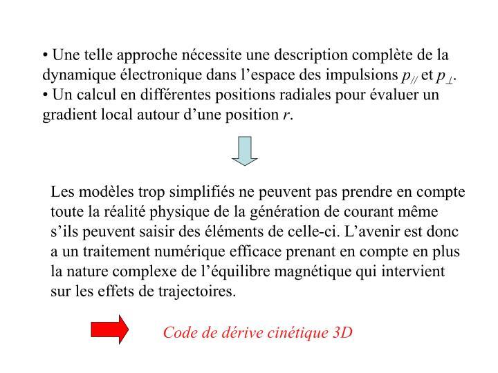Une telle approche nécessite une description complète de la dynamique électronique dans l'espace des impulsions