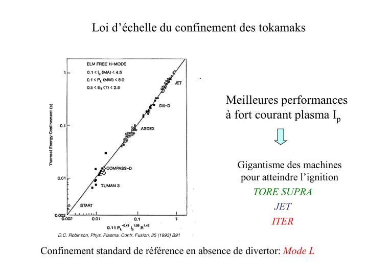 Loi d'échelle du confinement des tokamaks