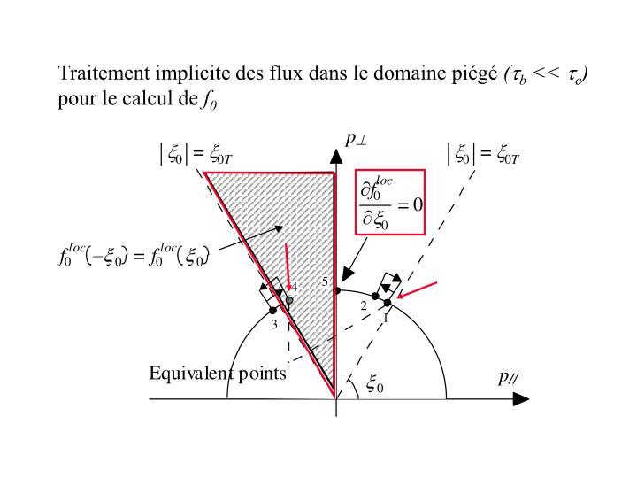 Traitement implicite des flux dans le domaine piégé
