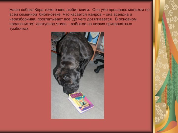 Наша собака Кера тоже очень любит книги.  Она уже прошлась мельком по всей семейной  библиотеке. Что касается жанров – она всеядна и неразборчива, проглатывает все, до чего дотягивается.  В основном, предпочитает доступное чтиво – забытое на низких прикроватных тумбочках.