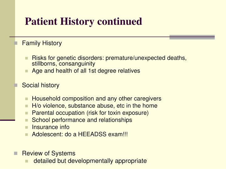 Patient History continued