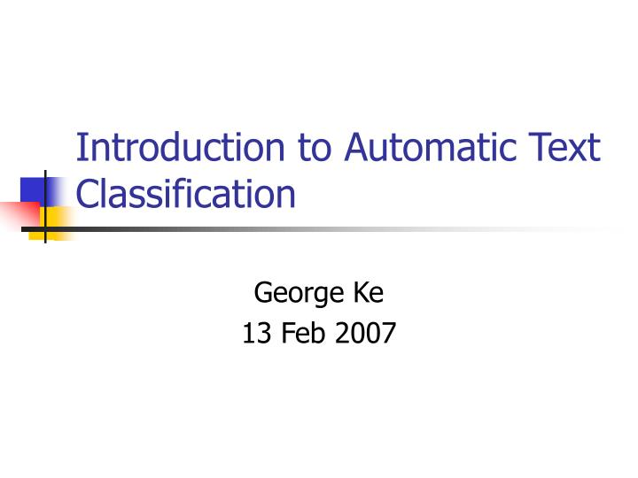introduction to automatic text classification n.