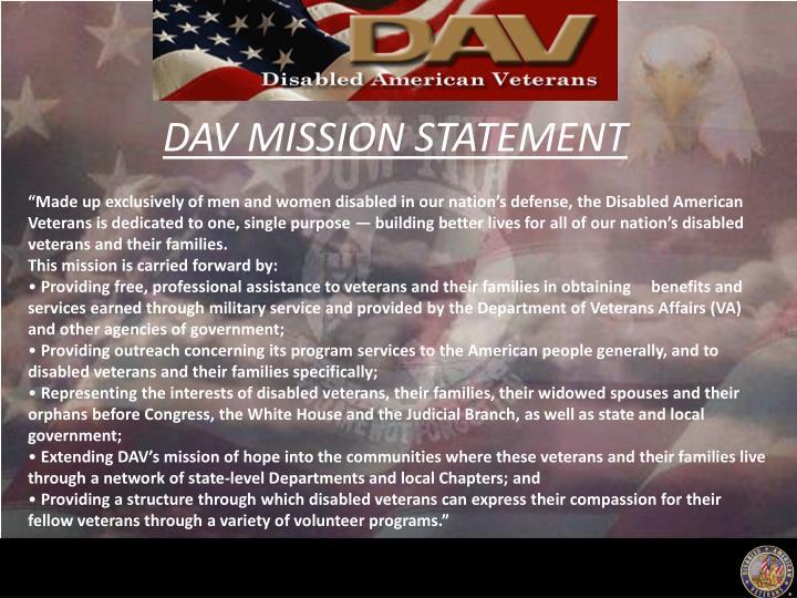 DAV MISSION STATEMENT