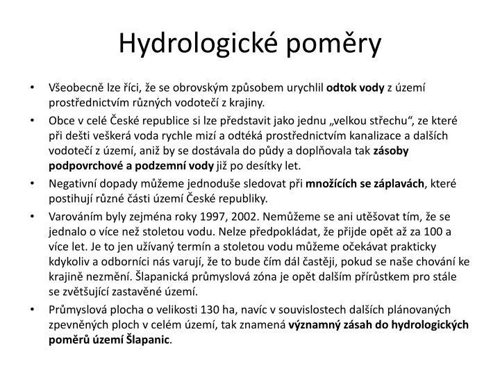 Hydrologické poměry