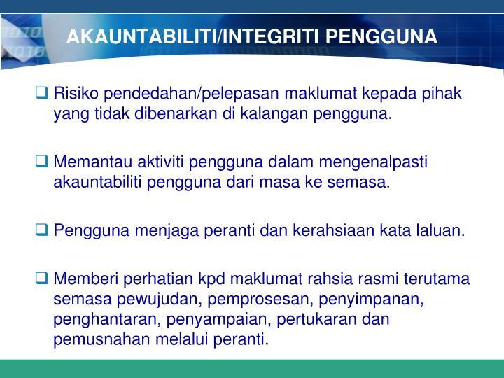 AKAUNTABILITI/INTEGRITI PENGGUNA