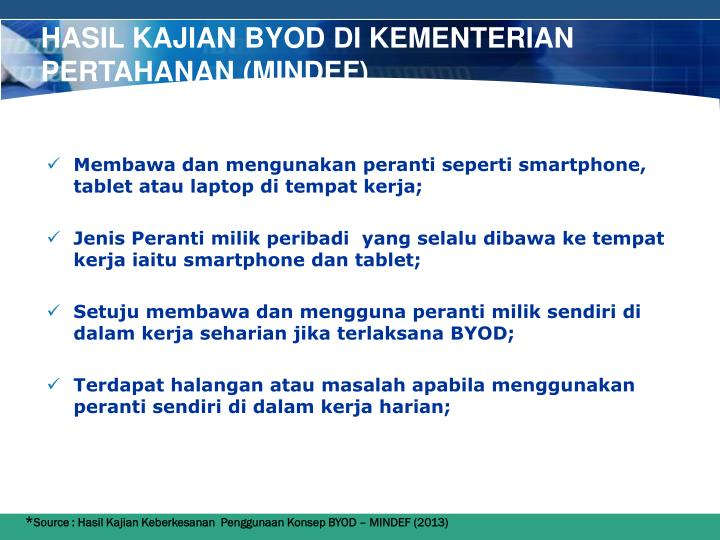 Hasil Kajian BYOD di KEMENTERIAN PERTAHANAN (MINDEF)