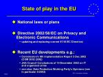 state of play in the eu