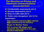 the directive on privacy and electronic communications directive 2002 58 ec