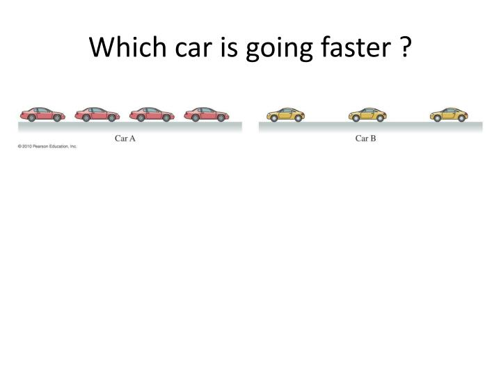Which car is going faster ?