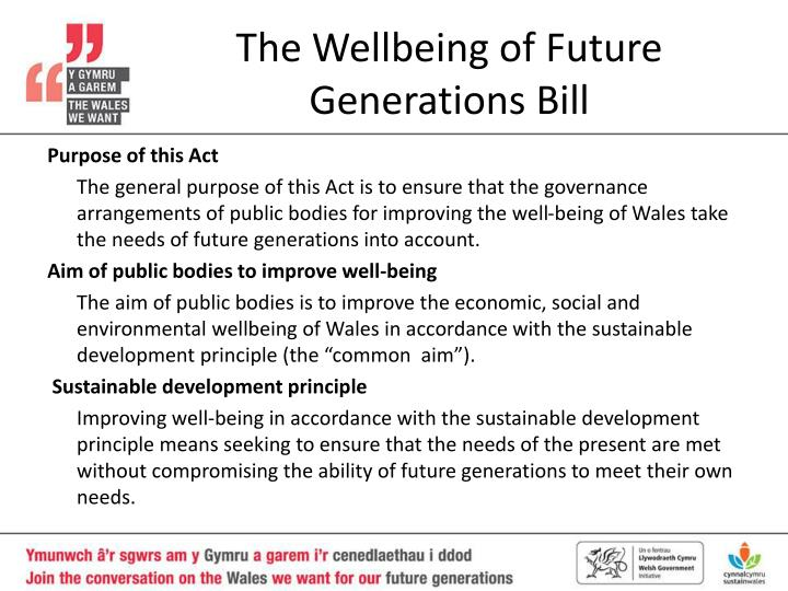 The wellbeing of future generations bill