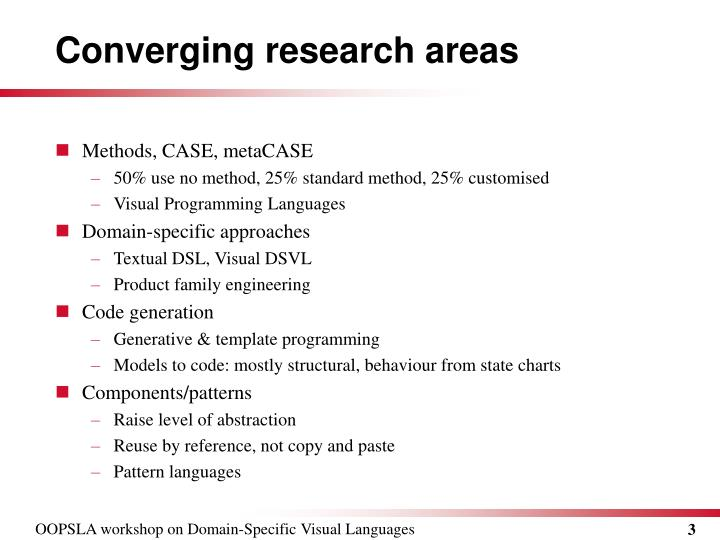 Converging research areas