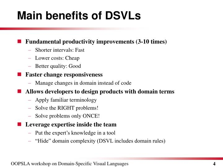 Main benefits of DSVLs