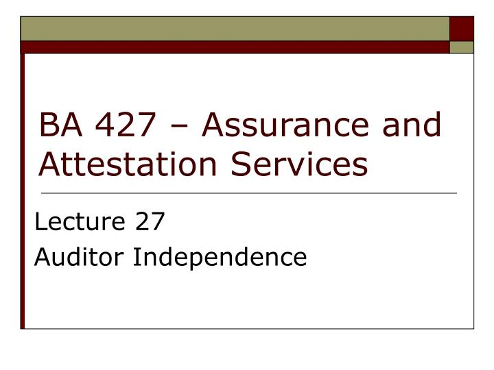 ba 427 assurance and attestation services n.