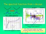 the spectral function from decays
