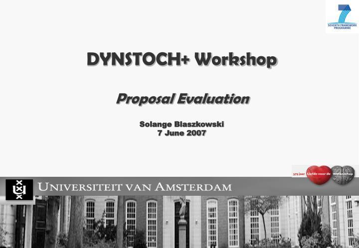 DYNSTOCH+ Workshop