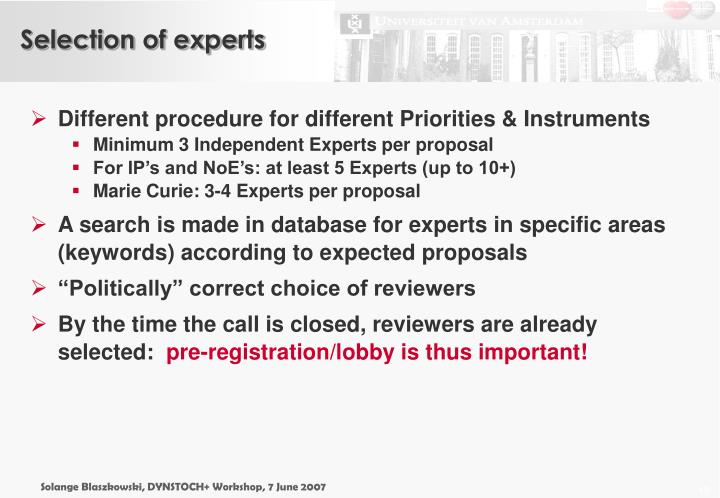 Selection of experts
