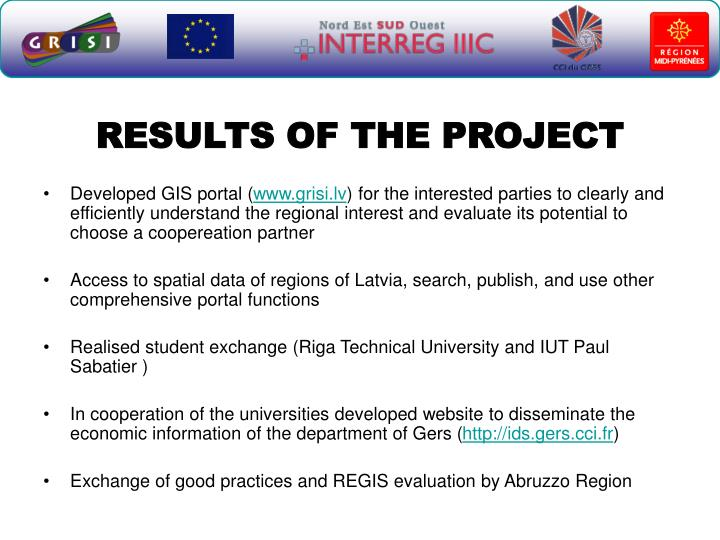 RESULTS OF THE PROJECT