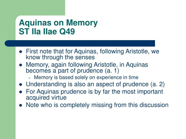 Aquinas on Memory