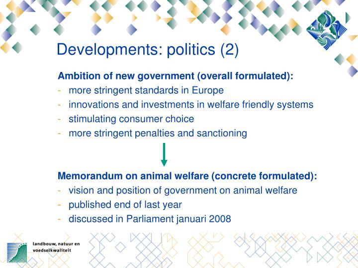 Developments: politics (2)
