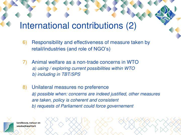 International contributions (2)