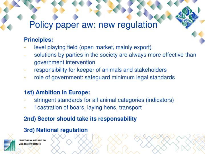Policy paper aw: new regulation
